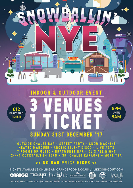 snowballin new years eve, new years eve events, new years eve southampton