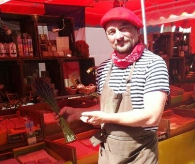 French, France, Frenchman, market, beret, stripes