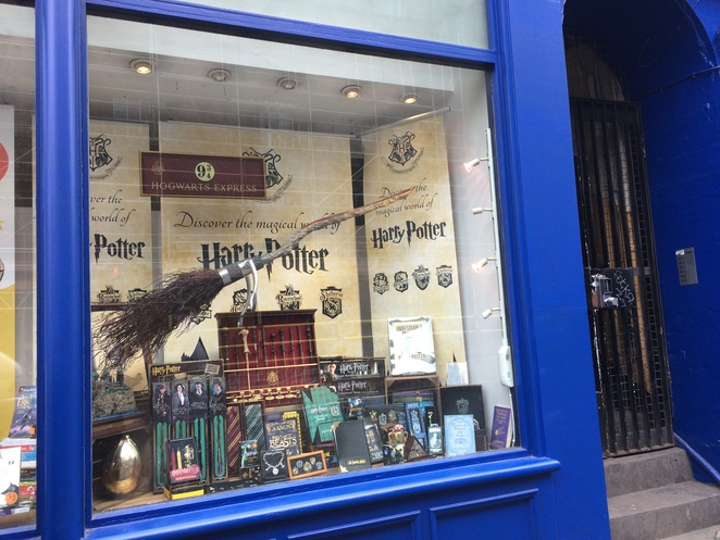 Harry Potter quidditch broom display