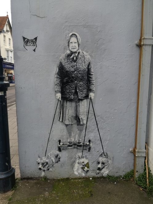 Queen and corgis street art Whitstable
