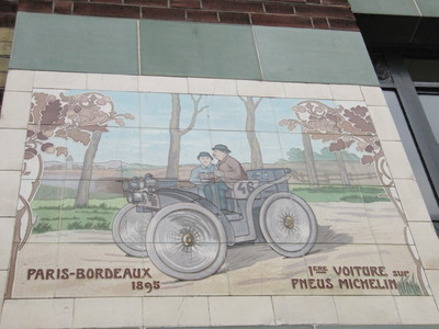 One of Michelin's advertisements on the side of the building