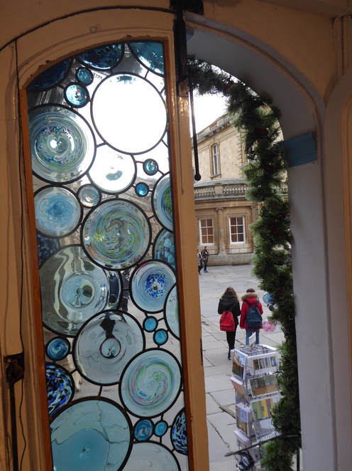 The glass roundels in the front door