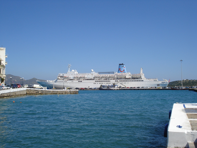 Cruise Ship in the Harbour at Aghios Nikolaos, Crete