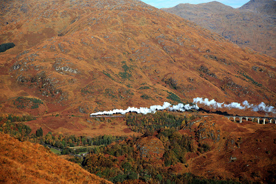 The Jacobite Steam Train passing over Glenfinnan Viaduct (Source: West Coast Rail website)