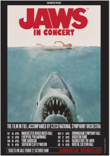 Jaws in Concert, Czech National Symphony Orchestra, Symphony Hall Birmingham, National Sea Life Centre, Jaws the Movie, Steven Spielberg