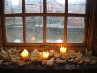 Candles, window ledge, canal, Calls Landing, Leeds