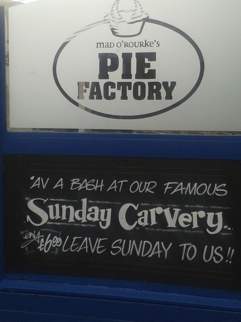 Mad O Rourkes, pie factory, pies, lunch, pub,