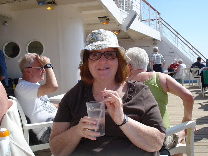 Margaret on board the Thomson Celebration
