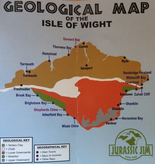 Isle of Wight Map for Fossil Hunting