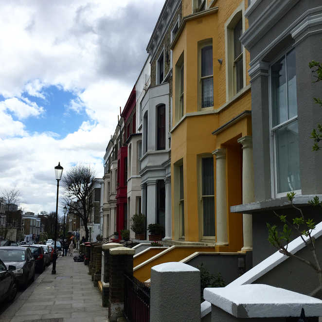 Notting Hill, Pastel Houses, Street