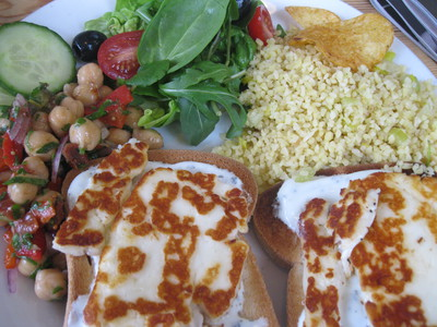 Halloumi, gluten free, mint, salad, Ganden Buddhist Centre, World Peace Cafe, Halifax
