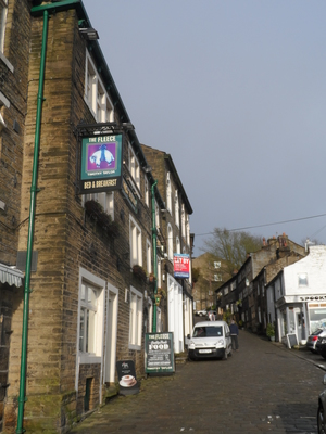 Main Street, Haworth, The Fleece Inn, Bronte, Cobbles