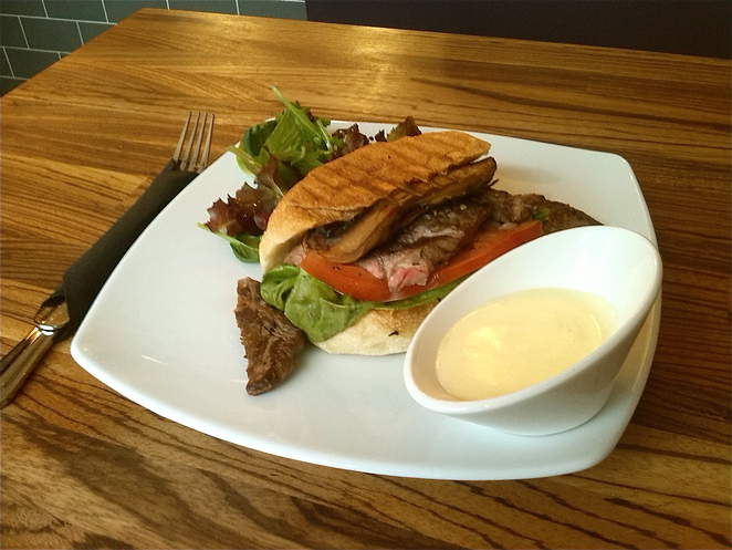 Rib-eye steak grilled sandwich