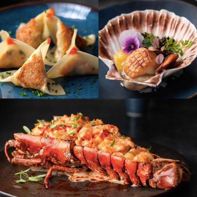 Clockwise from top left: Black roe, ahi, sushi, sashimi, tuna, Hawaiian poke, raw fish, seafood restaurant Mayfair, seafood restaurant London, Japanese food London
