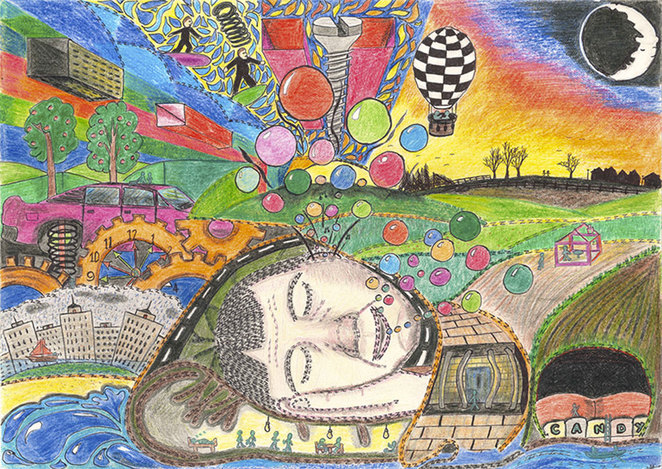 Dreamzzz, HM Prison Forest Bank, coloured pencils on paper, koestler trust, catching dreams, art of ex-offenders, patients, and detainees
