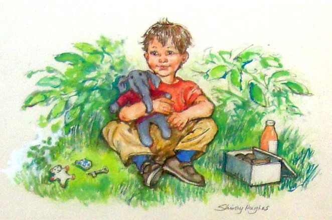 Alfie Outdoors by Shirley Hughes, illustration cupboard