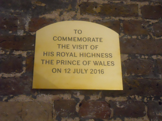 christ church spitalfields, cafe in the crypt,plaque, prince of wales, prince charles