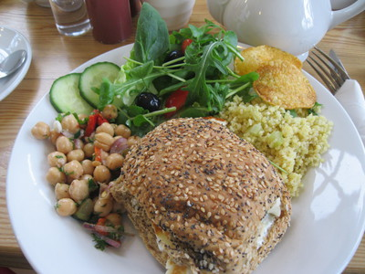 Halloumi, multiseed, mint, salad, Ganden Buddhist Centre, World Peace Cafe, Halifax