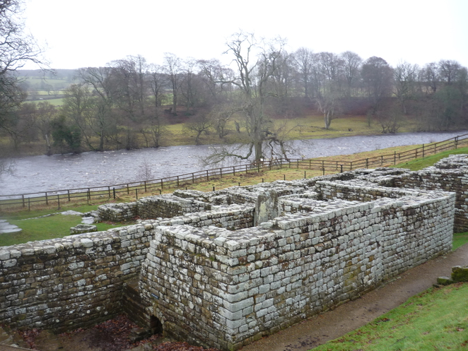 chesters, roman, fort, hadrians, wall, bath