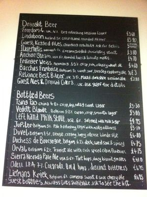 The Reliance, Draught Beer, Ales, Chalkboard