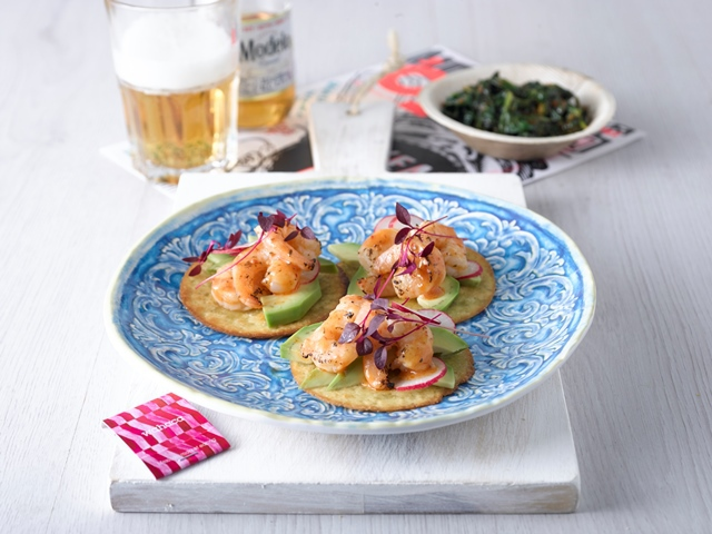 recipe for garlic and chilli prawn tostados, thomasina miers, wahaca, mexican kits