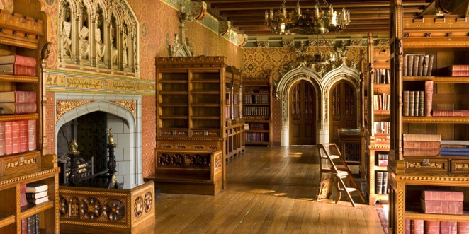 library, cardiff castle, castle, books