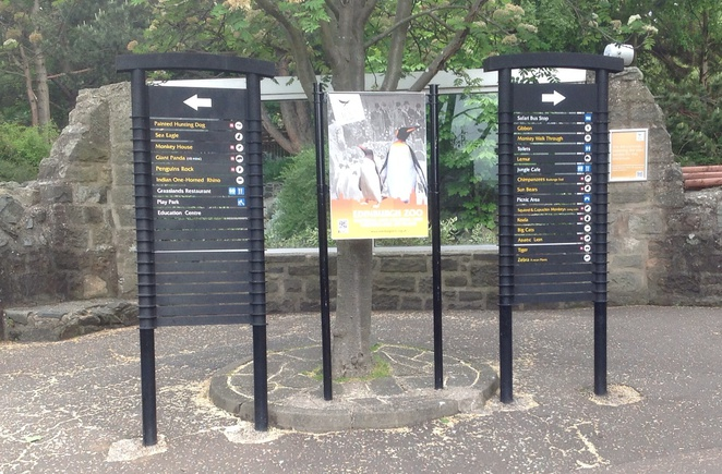 Edinburgh zoo, list, signpost