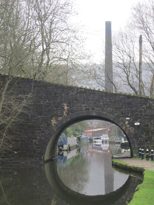 View under the bridge, Chimney, canal, towpath, Hebden Bridge, Yorkshire