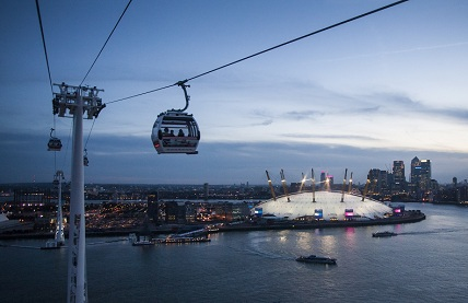 emirates, o2, air line cable car, valentine's day