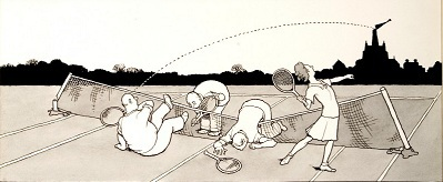 Heath Robinson's Illustration for Mixed Doubles