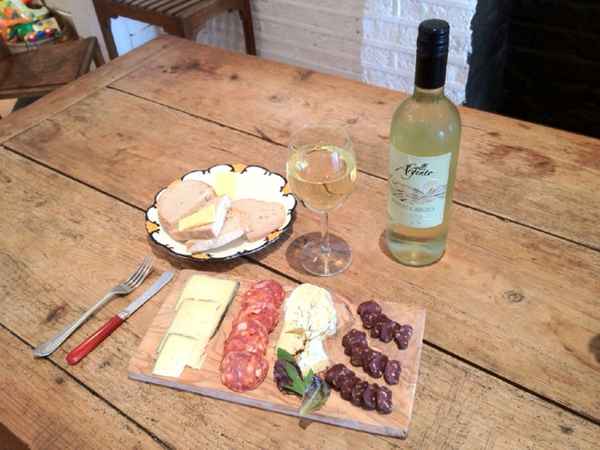 Wine and cheese, sharing board, the step, bowes park