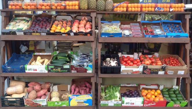 Fruit and veg, stall, Edinburgh, Stockbridge