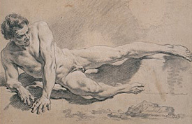 male nudes, eighteenth century drawings, paris academy, wallace collection, Francois Boucher, Study of a Man Lying Down, 1739