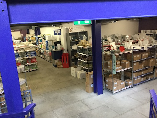 nisbets, catering supplies, crockery, basment