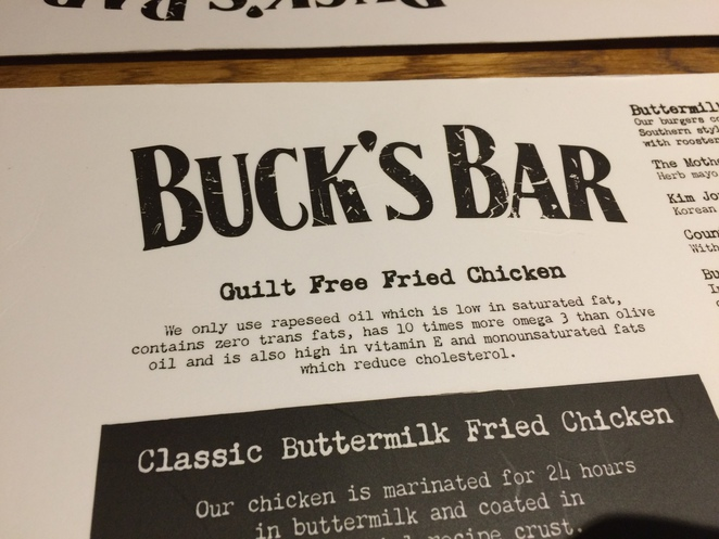 Buck's Bar Menu