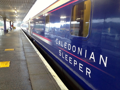 Caledonian Sleeper train at Fort William Station (c) JP Mundy 2012