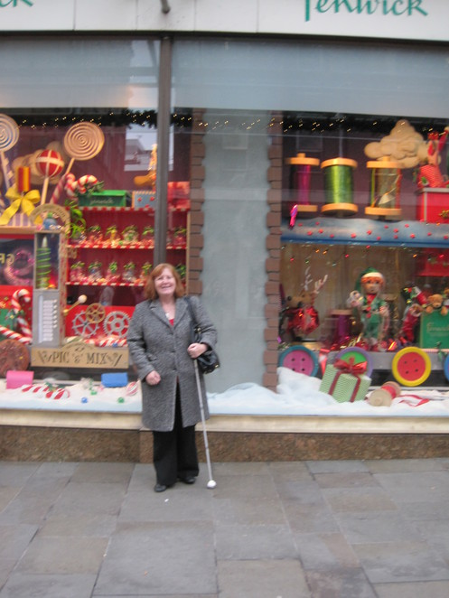 Margaret outside Fenwicks window 2012