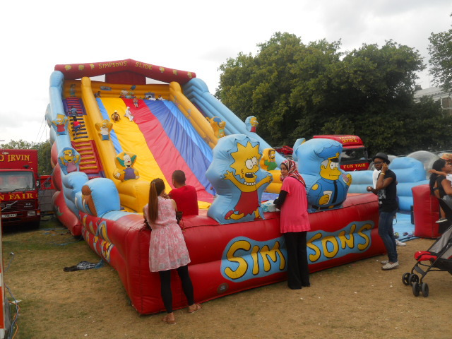 george irvin's fun fair, shepherd's bush common, the simpsons, inflatable slide