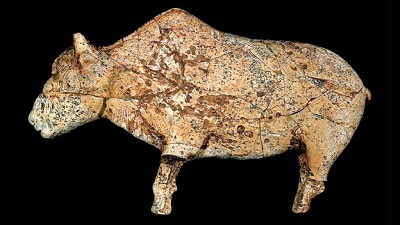 Bison Sculpted from Mammoth Ivory