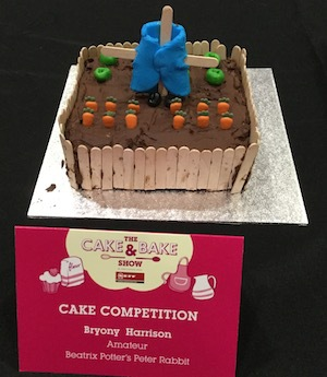 cake & bake show, london, excel, bryony harrison, competition, mr mcgregor's garden, carrot cake, chocolate cake