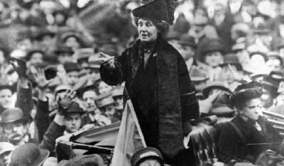 Emmeline Pankhurst Addressing Suffragettes