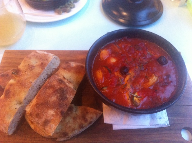 Chicken tagine and focaccia bread