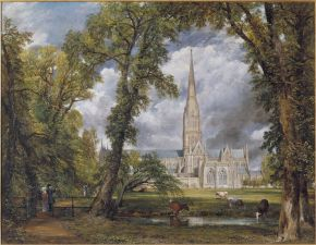 constable, the making of a master, victoria and albert museum, Salisbury Cathedral from the Bishop's Ground, 1823, oil on canvas