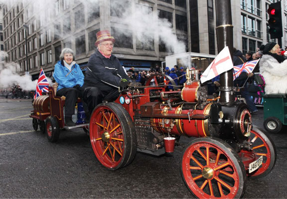 london's new year's day parade, miniature steamers for charity, steam engine