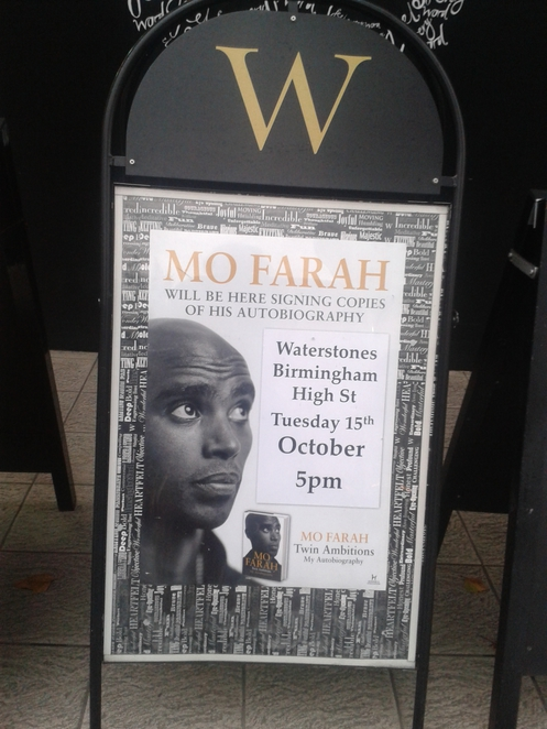 Mo Farrah, book signing, autobiography, Waterstones, High Street