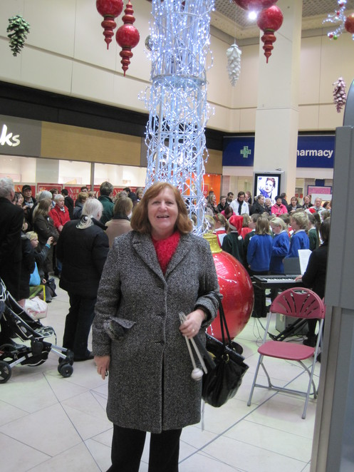 Margaret enjoys the Christmas Lights in Newcastle's Eldon Square