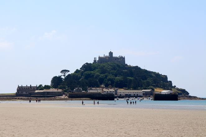castle, island, st michaels mount, sand, sea, beach