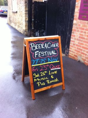Kings Arms, blackboard, beer, cider, pig roast, live music