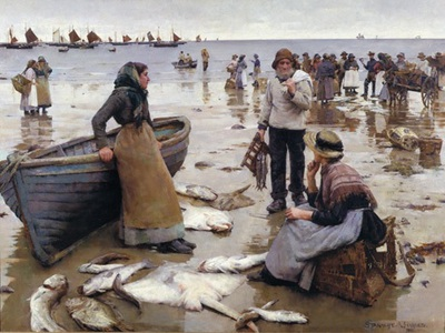 A Fish Sale on a Cornish Beach