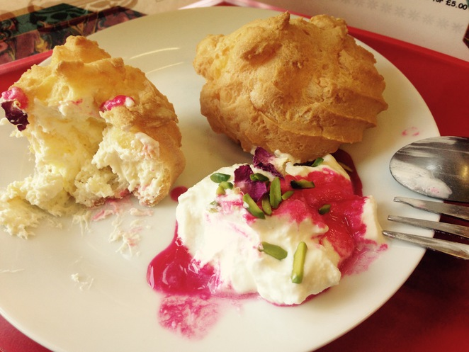 Iranian Cream Cakes served with Kaymak